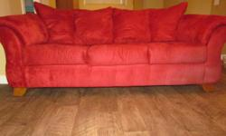modern red couch & chair purchased at Ashley Furniture . Solid, excellent shape, no rips or tears moving - must sell $475.00