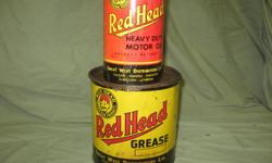 Red Head Grease Tins- a Red Head 1 quart Heavt Duty Motor Oil tin  - no rust - some small scratched on sides Also Red Head 5 lb Grease tin with very little rust. Both for $125.00. Call 780-464-0199.