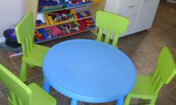 I have a Mammut large round blue table and 5 light green chairs for sale. This set is in excellent condition and would look great in your children's room, any area of the house or to give as a gift. This Mammut furniture cost $49.99 (table) and each chair