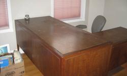 Redwood secretary desk with built in filing cabinet