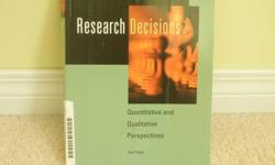 Author: Ted Palys 3rd Edition This book offers a concise yet comprehensive overview of the approaches and methods involved in doing social research.  Research Decisions acknowledges the differences between quantitative and qualitative research and offers