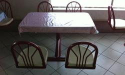 Restaurant closed, selling tables and chairs. All are fixed position units, with 2 or 4 seats per table. To be removed by buyer. Email for more info.