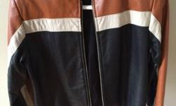 Retro leather motorcycle jacket, size small. Would look great on a man or woman, or even a 9-11 year old child (it was my son's riding jacket).