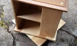 Revolving display shelf, solid wood, holds CDs or anything similarly sized, great as end table.