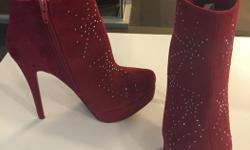"""BRAND NEW, never been worn deep red rhinestone booties Size 7.5 5"""" heel, 1""""platform"""