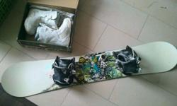 Ride Snowboard 146 cm in length. Includes board, bindings, size US 6 boots, and stomp pad. Only used a few times.