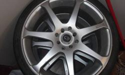 4 rims 3 tires have box of locking lug nuts aswell   these are 4 bolt rims or 4x100 wil fit g5,hondas,vw,ect