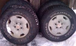 235/75/15 Goodyear wrangler tires on 5 bolt Chevrolet aluminum rims. This ad was posted with the Kijiji Classifieds app.