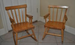 A pair of childrens rocking chairs. Cute and in very good condition. $15 each or $25 the pair.