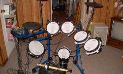 Comprises: MDS 6 Drum Stand TD 6 Sound Module 4 - PD 80 Drum Pads KD 80 V-Kick Trigger with Gibralter Intruder II Kick Pedal PD 105 Snare Drum CY 12H Hi-Hat with FD 6 Hi-Hat Control 2- CY 6 Cymbal (Crash & Ride) Sony Stereo Headphones 2 - Sets sticks