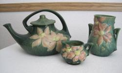 """Roseville pottery, Clematis pattern:  large Teapot, creamer; matching vase (6"""") Excellant condition! Bids open"""