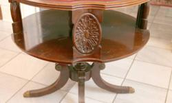 """Round end table. size is 30"""" W X 29"""" H. 416-931-9988"""