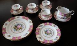 Royal Albert dishes in the Lady Carlyle pattern.  4 large dinner plates, 4 dessert plates, 4 cups and saucers and gravy boat. All in excellent condition, $200 firm.   Butter dish available for $50 extra.  Please call 705-461-3614 or e-mail.  Located in