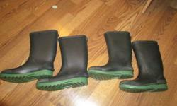 There's a Size 5 and a size 3. They are fully black with a green base.  NO holes what-so ever in both of them. Im asking $15 for both of them. Please e-mail me if your intrested in them :)