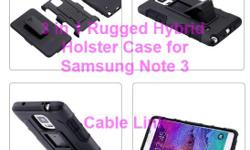 Rugged Hybrid Armor Holster 3 in 1 Case for Samsung Note 3 -Brand New Swivel Holster with Case -East to install, just snap on the phone Shell and holster are ribbed with a rubber-like feel for a non slip grip Small and lightweight for travel Shell -