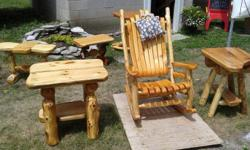 Rustic Table (left) $300 Rustic Rocking Chair $520 Rustic Table (right) $160 Rustic Furniture Wood Crafts by Les Spurrell offers handmade rustic furniture made from Hickory, Pine, Alder, Aspen and more. Complete Canadian-made rustic furniture offerings