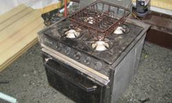 These appliances are from a camper, 4 burner stove/oven, auto ignition 12000btu forced air furnace, new regulator(missing grill), freshwater tank with Sure-Flo water pump, and power inverter that converts 110v to 12v, double stainless sink, 200.00firm for