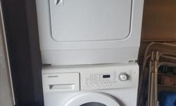 """24"""" Samsung Front Load Laundry Pair WF-J1254XAC DV665JWXAC Perfect for Condo or Small Laundry closet"""