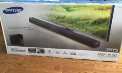 Samsung HW-J550 Soundbar with Subwoofer (New) Brand new in box, never opened. $300 Sells for $479.00 + tax at Bestbuy Received with new TV but I don't need it due to existing system. 705 256 8599