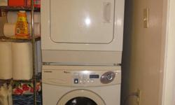 Stackable (or place side by side). 5 years old. Door of washer has a small crack on the handle (crack is only cosmetic, does not affect the effectiveness of the washer). Both appliances have many different settings. Smoke free home. Will deliver within