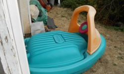 LITTLE TYKES TUG BOAT SAND BOX WITH LID & SAND $ 50.00 VERY LARGE NEED TO UNLOAD SAND TO MOVE KITCHEN SET WITH BBQ, FRIDGE, 2 OVENS SINK ETC HAS BEEN USED OUTDOORS $ 10.00 LARGE HAS BEEN TAKEN APART FOR TRANSPORT not sure about the yellow part BABY SWING