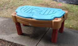 Little tykes sandbox. Has compartment for water as well. Great fun for the summer. Comes with an umbrella.