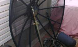 6 ft. Satellite Disk with C-Band Horn and power arm. aprox. 75 ft. of cabling. Comes with all the hardware.