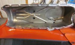sbc chrome oil pan like new