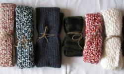 All scarves are hand made - knit or crocheted in various lengths, widths and colors, the ones available are the ones shown in the pictures.   Located in Medicine Hat, AB.  Can ship for addition shipping cost and will provide shipping quote prior.  Will