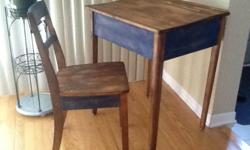 "This is a recently refinished School Desk and matching Chair. Its done in Blue and Walnut with a distressed antique stain. Its 30"" high by 26"" wide and 22"" deep. Asking 145 obo. Delivery available locally for a small fee. Check out my other ads for more"