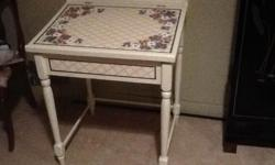 Really Cute School flip top desk. It has been painted in a cream color and has handpainted pansys on the top. This is a smaller desk suited for a younger child but will work for an adult too. Asking 75 obo can deliver locally for a small fee. Check out