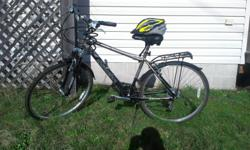 """For sale, Schwinn hydra men's bicycle. Condition like new! Only ridden once. 24 speed. 26"""" aluminum frame with hybrid tires good for road cycling and trail riding. Bike includes shock absorbers, fenders, kickstand. Sale price $250 also includes adult"""