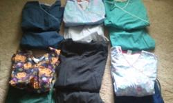 I have 5 scrub bottoms size 1X and 6 scrub tops size 2X. Wore for only six months. Mint condition. Reply to this ad to view. Would like $50.00 for the lot. Thanks for looking.