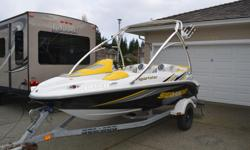 2006 Sea Doo Sportster 215hp. Immaculate, only 143hrs. New impeller, 1000 watt stereo and speakers. 4 seats, wake tower. Very fast, runs perfect, garage kept. Comes with trailer, new wakeboard, tow rope, tube, paddles, safety gear