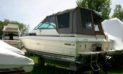 10 ft. beam,twin Mercruiser 4.3 V6 4-barrel 205hp.alpha 1 drives.hot water tank,ac/dc fridge,stove,microwave.full head with shower.sleeps 6 with aft cabin.G.P.S.,mariner VHF radio,bow spotlight,depth sounder,halon and full safety equipment,dock lines and