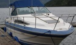 Searay Sundancer 250 aft cabin, V berth, galley, head, depth sounder and GPS. Mercruiser 260 (260hp) and Alfa One leg. New composit prop and spare prop. 20 mph @ 3700 rpm, cruises nicely at 3000 rpm and 12 mph Trailer sold separately, please ask for
