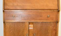 Bought in antique store in Quebec, don't remember type of wood, could be oak and a secondary wood for the drawers. In good condition, used it as my laptop desk for awhile. Moving sale......won't fit in our new décor. View my seller's list for more items.