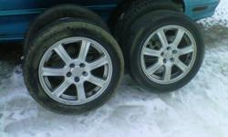 Set of 4 enkei rims are in great shape no. Curb rash or peeling rims are stored out of the weather bolt  pattern is 5x100 tires are 205 / 50 R 16s. Be good for one more summer bought for my sunfire for the summer  but want. Biger rims.  Now. Asking $ 275.