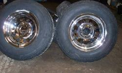 SELLING A SET OF CHROME WHEELS , WILL FIT FORD MUSTANG . RANGER ALL FORD 5 BOLT REAR WHEEL DRIVE . ALSO FITS TOYOTA PICK UPS . SELL ALL 4 FOR 120. ALSO HAVE TIRES IF REQUIRED ,, 205 75 14 FOR AN ADDITIONAL 160.