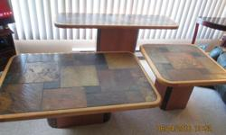 """Set of 3 tables with real stone top and maple edge and stand, from South Africa Console: 28"""" h x 53"""" w x 15.5"""" d Coffee table 17.5 h x 47"""" w x 32"""" d Side table: 20.5"""" h x 27.5"""" w x 27.5"""" d Located in Stittsville, must be picked up, can't be delivered"""