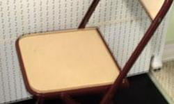 """If you see this add it means """"STILL AVAILABLE"""". I WILL NOT RESPOND TO """"IS THIS ITEM STILL AVAILABLE?"""" Contact me only to make appointment. I have three smaller metal folding chairs, vinyl padded and very stable. Great for parties. Sitting ht at 17 & 3/4"""""""