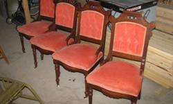 Jacques & Hayes styled antique chairs.  Very good condition.  Recently reupholstered.  Button backed.