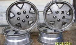 Set of 4 Aluminum Rims, to fit a Chevy S-10 4x4. 5 Bolt Pattern, 15 inch. Still in good shape, See pictures. $80.00 takes ALL. This Ad will be deleted when sold. Located near Minden, Contact through KIJIJI or call 705-286-4849. Other items for sale, check