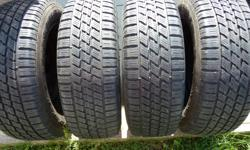 Hi, this is a set of four 15 inch ringed steel rims, with mounted and balanced snow tires from a car we don't have, so we are motivated to sell. The rims were on a VW, but they fit many different makes and models that use the 5X100 Bolt Pattern.The