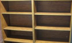 """$25 each. Dimensions: 30.5""""w x 72""""h x 16""""d. Two bookcases in good condition. One has small doors at the bottom. Contact 613-836-0282"""