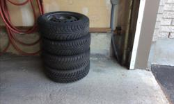 3 Gislaved Nord Frost M & S and one Hankook Pike RC01 winter tires and rims. The Gislaved have very little kilometers and the Hankood is brand new because we had a blow out on the highway and the dealership had no Gislaved tires in stock. All are sized