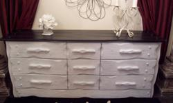 Its a large piece so check your space first I have a shabby chic large black and white dresser chest for sale. Made of solid oak. It is in excellent condition. Has 6 wide spacious drawers and 3 smaller ones with beautiful detail. All the drawers are clean