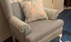 """I am selling a lovely shabby chic queen anne sitting chair. It is a light blue color with white legs and lace arm and head covers. Has silver nailheads on the arms and bottom. It is very comfortable and in good condition. Asking 100$firm it is 32""""wide so"""