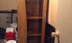 Great for storage Excellent condition 2 lights with extension cords to light up the inside of the cabinet Glass door