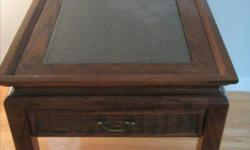 """Glass topped side table with one drawer. """"Wicker"""" style detail on drawer"""